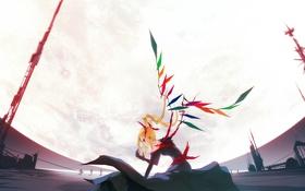 Обои девушка, девушки, луна, крылья, аниме, арт, кристаллы