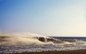 Обои песок, море, волны, брызги, ветер, берег
