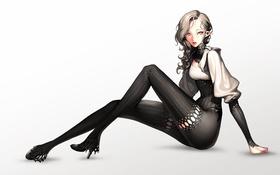 Обои девушка, одежда, волосы, эльф, каблуки, чёрная, взгляд. аниме