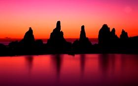 Картинка небо, закат, озеро, скалы