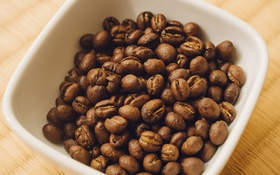 Обои кофе, зерна, тарелка, миска