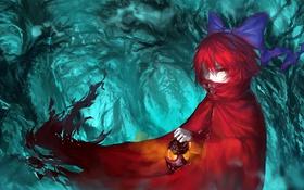 Картинка красный, арт, фонарь, плащ, бантик, touhou, kirame kirai