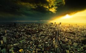 Обои солнце, тучи, город, мегаполис