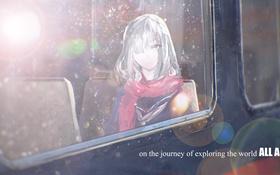 Картинка стекло, девушка, капли, аниме, шарф, арт, 5esrs