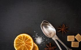 Картинка апельсин, сахар, бадьян, ложечки