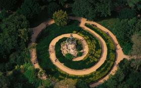 Обои деревья, Франция, спираль, дорожка, беседка, Иль-де-Франс, ботанический сад