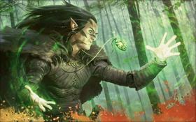 Обои лес, магия, эльф, свечение, талисман, заклинание, Magic The Gathering