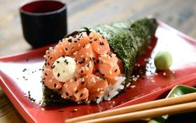 Обои rolls, sushi, суши, роллы, начинка, японская кухня, Japanese cuisine