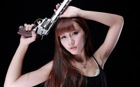 Картинка взгляд, девушка, лицо, пистолет, оружие, волосы, азиатка