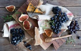 Обои инжир, виноград, сыр