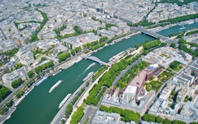 Обои река, Франция, Париж, корабль, дома, панорама, улицы