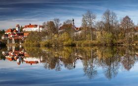 Обои осень, деревья, озеро, дома, Германия, Бавария, Фюссен
