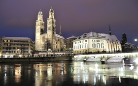 Обои зима, снег, ночь, мост, огни, река, дома