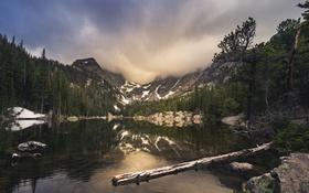 Обои горы, Colorado, природа, деревья, Rocky Mountain National Park, озеро, небо