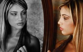 Картинка взгляд, девушка, секси, отражение, ч/б, губы, photographer