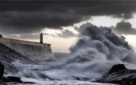 Обои море, волна, маяк