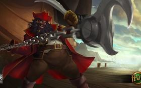 Обои пират, цепь, Devourer, Captain Gorebeard, меч, борода, Heroes of Newerth