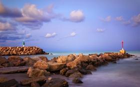 Обои камни, мыс, небо, Валенсия, маяк, море, Эль Парелло