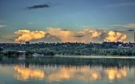Обои Яченское, Kaluga, Калуга, водохранилище, небо, облако