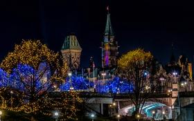 Картинка ночь, мост, огни, башня, Канада, Оттава
