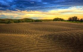 Картинка Канада, тучи, песчаные холмы, Саскачеван