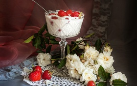 Обои йогурт, десерт, клубника, розы