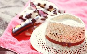 Обои лето, шляпа, очки, плетеная