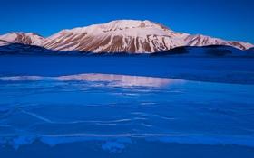 Обои лед, небо, снег, горы, озеро