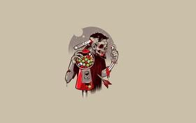 Обои минимализм, скелет, жвачка, zombie, стрела, зомби