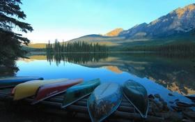 Обои пейзаж, горы, озеро, лодки