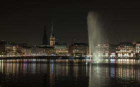 Обои небо, ночь, дома, Германия, фонтан, Гамбург, ратуша