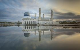 Картинка облака, отражение, зеркало, Мечеть, Малайзия, Likas Бэй, Сабах