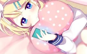 Картинка девушка, лежит, подушка, телефон, vocaloid, вокалоид, art