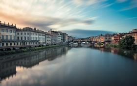 Картинка небо, облака, мост, река, дома, photographer, Michael Woloszynowicz