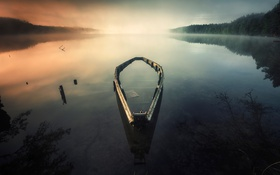 Картинка photo, озеро, лодка, дымка, вечер, старая, Carlos M. Almagro