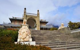 Обои цветы, сад, ступени, Крым, Воронцовский дворец, Алупка, мраморные львы