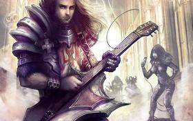 Обои девушка, музыка, гитара, микрофон, парень, Diablo III, fan art
