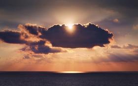 Картинка море, небо, солнце, облака, отражение, зеркало, горизонт
