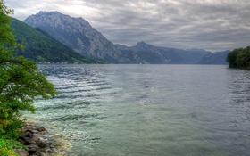 Картинка тучи, озеро, горы, Австрия, Traunsee, Gmunden
