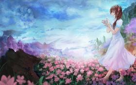 Картинка небо, девушка, облака, цветы, горы, природа, аниме