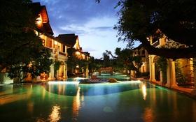 Обои вечер, бассейн, Thailand, курорт, resort, entrance, khum phaya