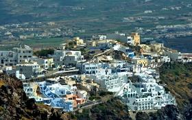Обои пейзаж, город, камни, скалы, дома, равнина, Греция