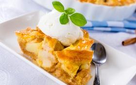 Обои пирог, мороженое, мята, десерт, выпечка