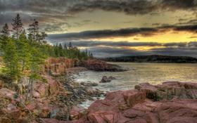 Картинка деревья, озеро, камни, скалы, hdr, США, национальный парк