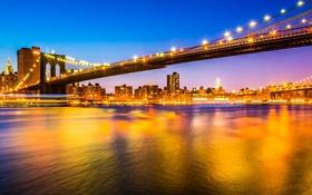 Обои США, пролив, город, ночь, мост, вечер, огни