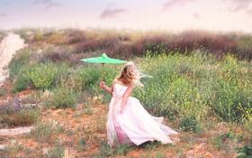 Обои ветер, зонт, платье, девочка