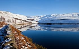 Картинка камни, озеро, горы, снег, небо