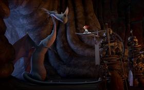 Обои мультфильм, гном, пещера, Der 7bte Zwerg, 7-ой гном, приключение, дракон
