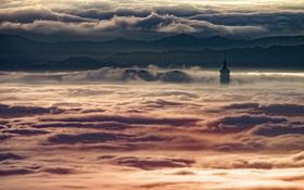 Картинка ночь, город, туман