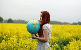 Картинка девушка, глобус, рапс